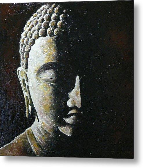 Buddha Metal Print featuring the painting Meditation 1 by Eddie Lim