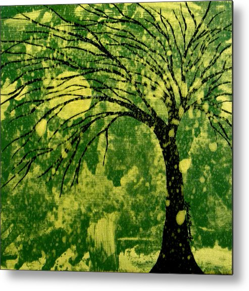 Tree Metal Print featuring the painting Metallic Moon by Linda Powell