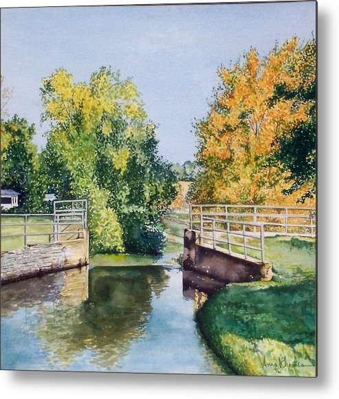 Landscape Metal Print featuring the painting Metamora Canal by Anne Rhodes