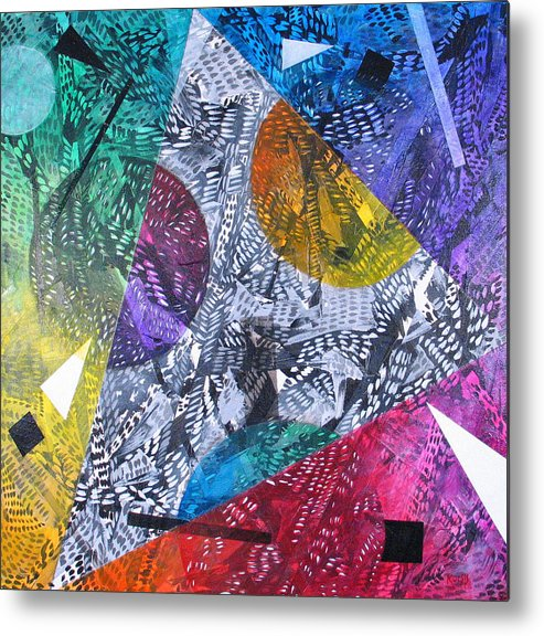 Geometric Metal Print featuring the painting Microcosm Xx by Rollin Kocsis