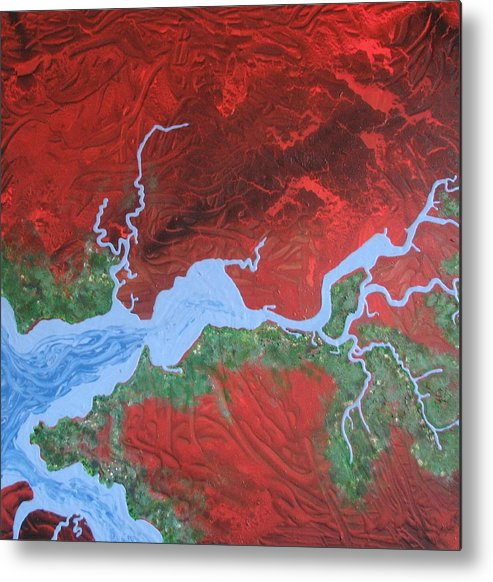 Map Metal Print featuring the painting Mission River by Joan Stratton
