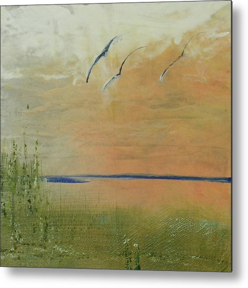 Encaustic Metal Print featuring the painting Mississippi Delta by Sally Backey-Avant