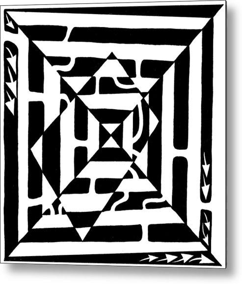 Maze Art Metal Print featuring the drawing Monolith Maze Optical Illusion by Yonatan Frimer Maze Artist