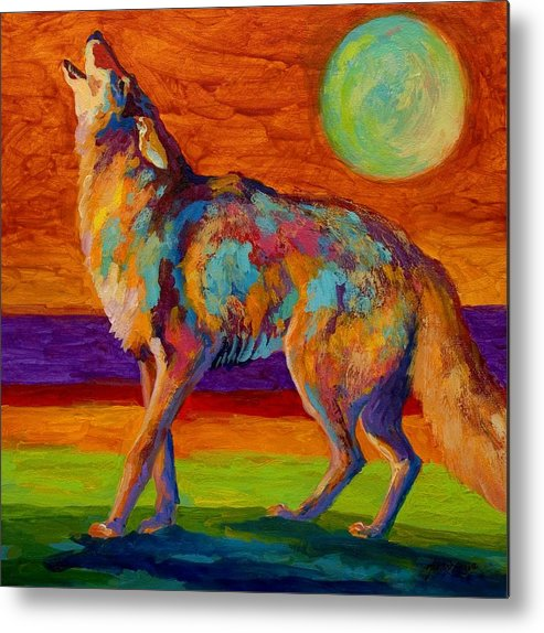 Coyote Metal Print featuring the painting Moon Talk - Coyote by Marion Rose