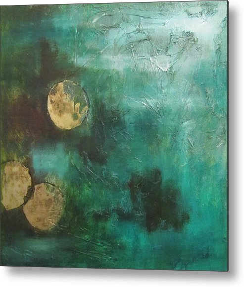 Moons Circle Gold Green Black Abstract Textures Metal Print featuring the painting Moons by Karen Schmitt