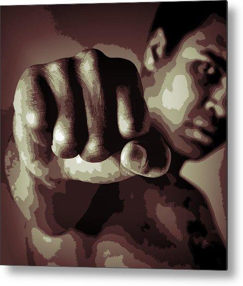 Muhammad Ali Fist Poster Metal Print featuring the digital art Muhammad Ali Fist Poster by Dan Sproul