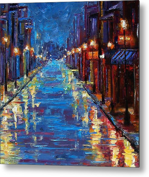 Cityscape Metal Print featuring the painting New Orleans Bourbon Street by Debra Hurd