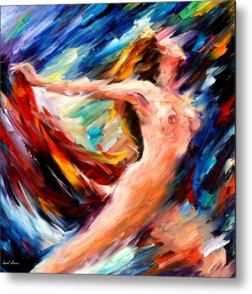 Nude Metal Print featuring the painting Night Flight by Leonid Afremov