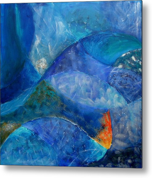 Abstract Metal Print featuring the painting Ocean's Lullaby by Aliza Souleyeva-Alexander