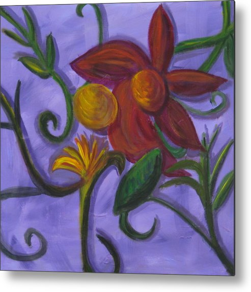 Flower Metal Print featuring the painting Opus Six by Rebecca Merola