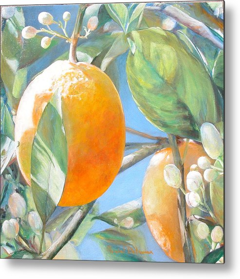 Floral Painting Metal Print featuring the painting Orange by Muriel Dolemieux