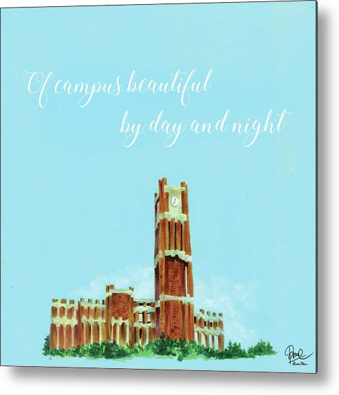University Of Oklahoma Sooner Chant Clock Tower Metal Print featuring the painting Ou Chant - Clock Tower by Quan Phan