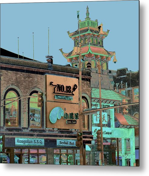 China Town Metal Print featuring the photograph Pagoda Tower Chinatown Chicago by Marianne Dow