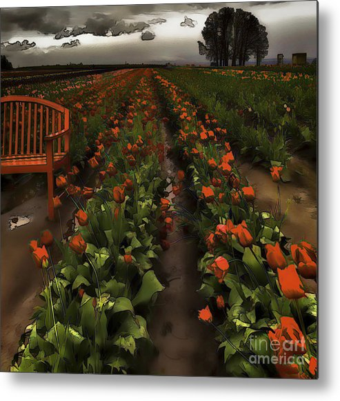 Red Tulips Metal Print featuring the photograph Painted Tulips by Nancy Marie Ricketts
