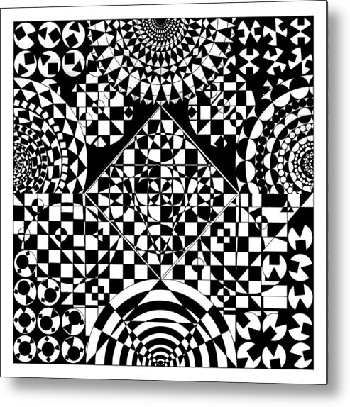 Philosopher Kaleidoscope Stone Square Circle Triangle Design Shapes Primitives 2d Pattern Math Metal Print featuring the drawing Philosophers Kaleidoscope by Priscilla Vogelbacher
