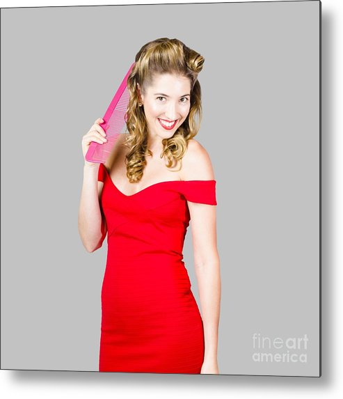 Female Metal Print featuring the photograph Pin-up Styled Fashion Model With Classic Hairstyle by Jorgo Photography - Wall Art Gallery