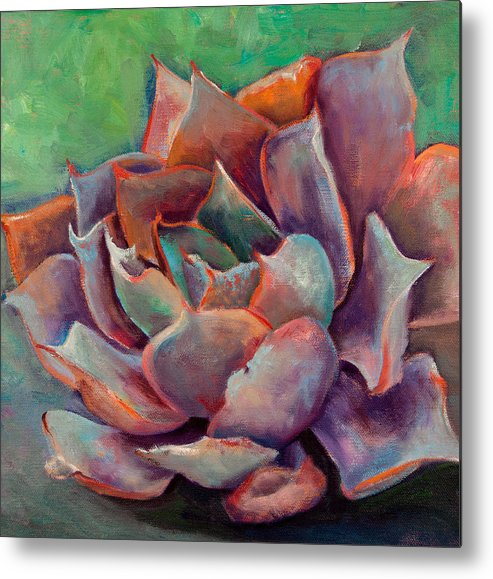 Echeveria Metal Print featuring the painting Pink Echeveria by Athena Mantle