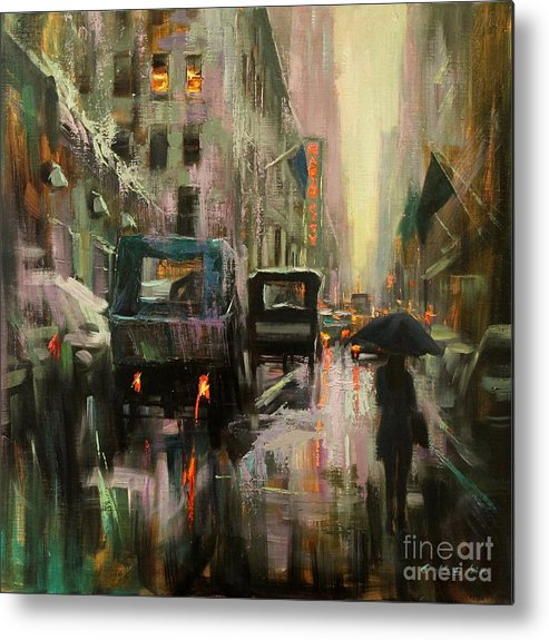 Cityscape Metal Print featuring the painting Rainy At Radio City Music Hall by Chin H Shin