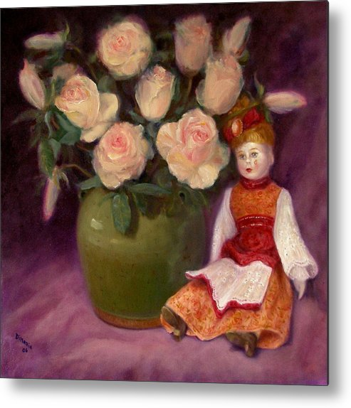 Realism Metal Print featuring the painting Ramblin Rose by Donelli DiMaria