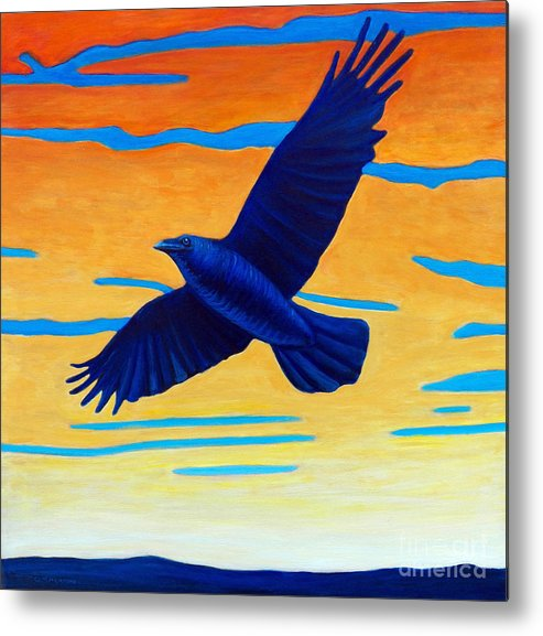 Raven Metal Print featuring the painting Raven Rising by Brian Commerford