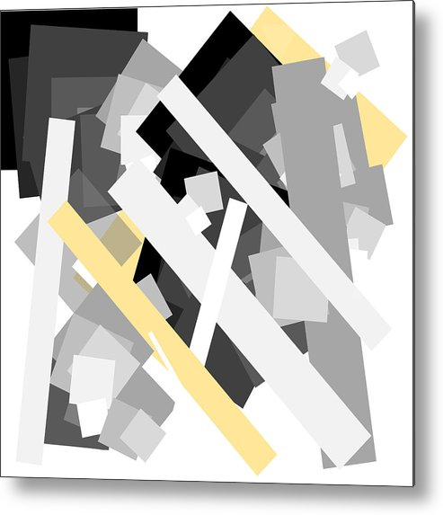 Yellow Metal Print featuring the digital art Rectangles With Yellow Accent by Ewelina Karbownik