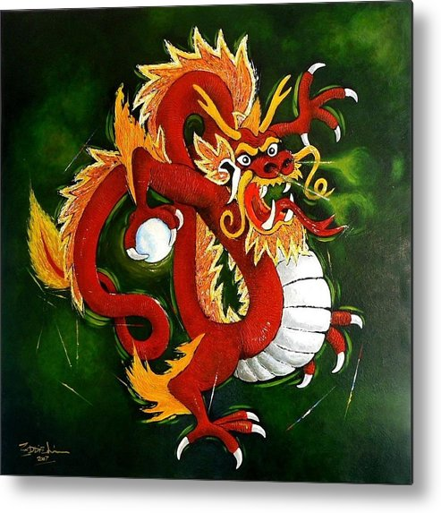 Mystical Metal Print featuring the painting Red Dragon by Eddie Lim