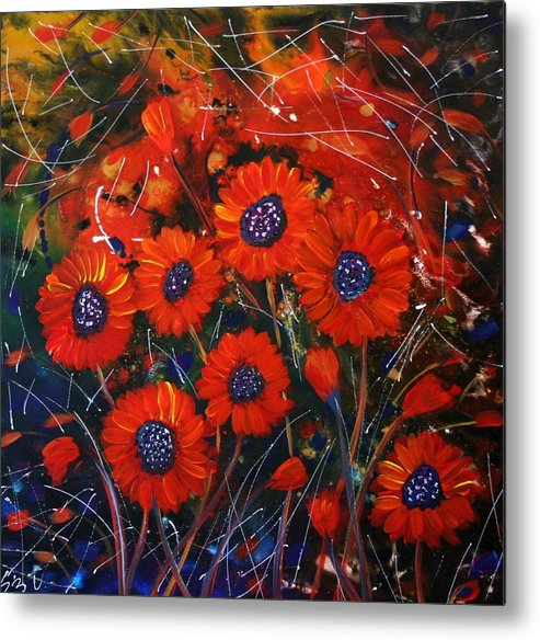 Flowers Metal Print featuring the painting Red Flowers In The Night by Luiza Vizoli