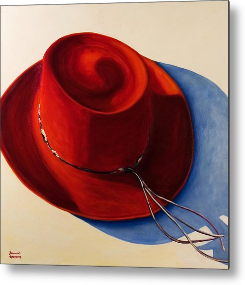 Red Hat Metal Print featuring the painting Red Hat by Shannon Grissom