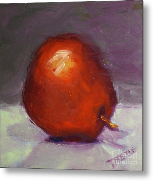 Red Metal Print featuring the painting Red Pear Print by Patti Trostle
