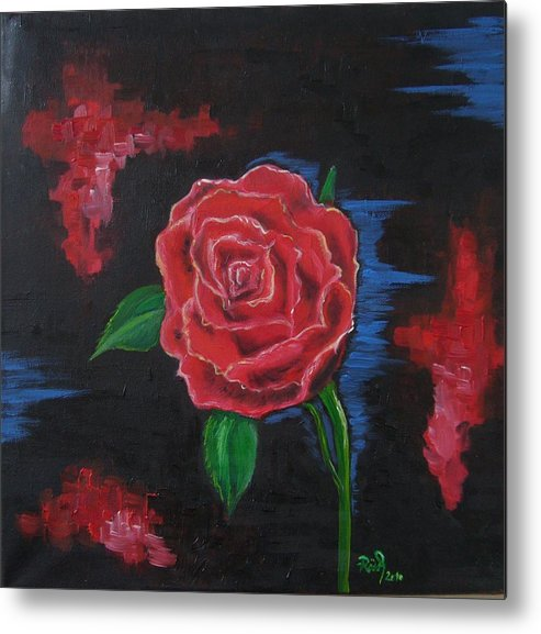 Rose Metal Print featuring the painting Red Rose by Beata Rosslerova