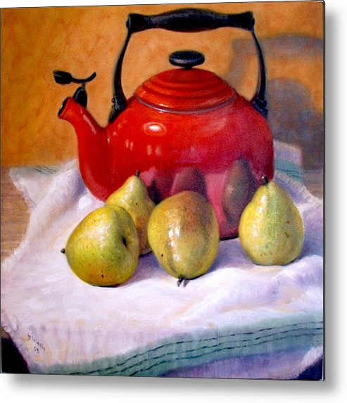 Realism Metal Print featuring the painting Red Teapot And Pears by Donelli DiMaria