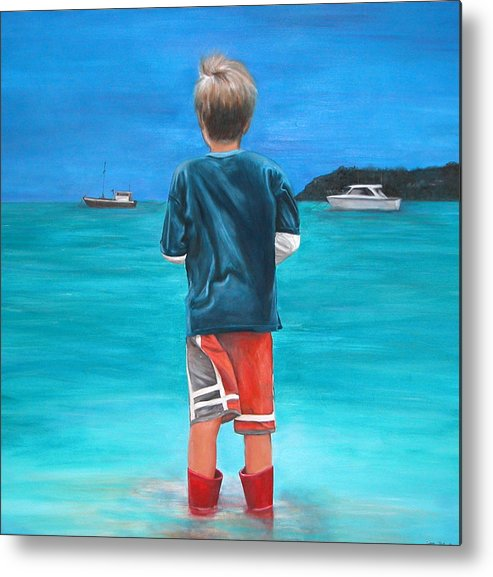 Beach Metal Print featuring the painting Red Wellies by Fiona Jack