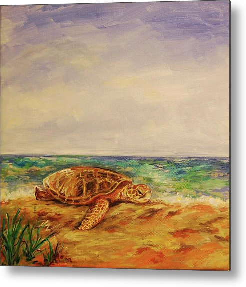 Sea Turtle Metal Print featuring the painting Resting Sea Turtle by Danielle Hacker