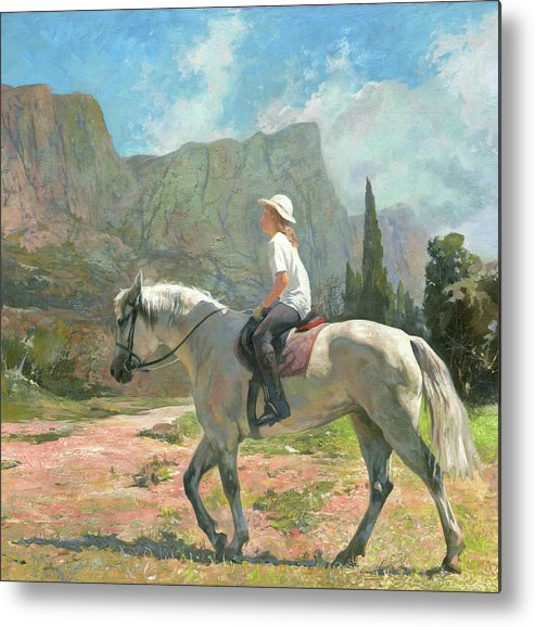 Horse Metal Print featuring the painting Riding by Denis Chernov