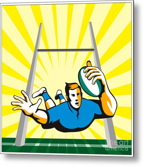 Rugby Metal Print featuring the digital art Rugby Player Try by Aloysius Patrimonio