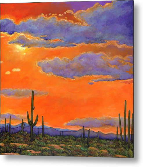 Southwest Art Metal Print featuring the painting Saguaro Sunset by Johnathan Harris