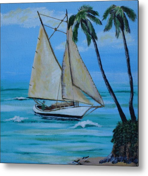Sailboat Metal Print featuring the painting Sailor's Dream by Susan Kubes