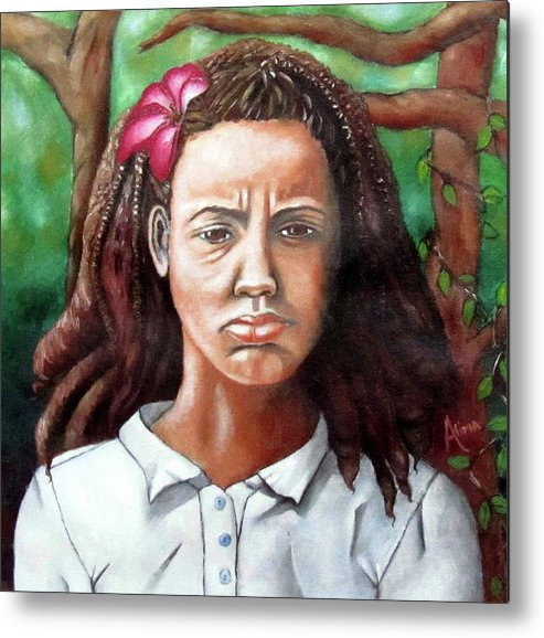 Portrait Metal Print featuring the painting Salty Girl by Alima Newton