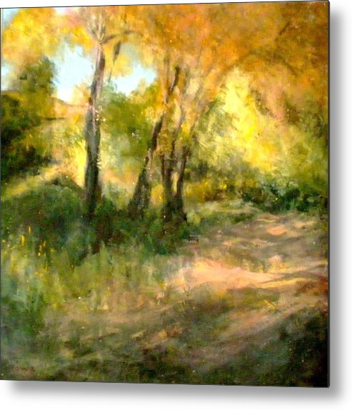 Landscape Metal Print featuring the painting Santa Fe Fall by Renee Rowe
