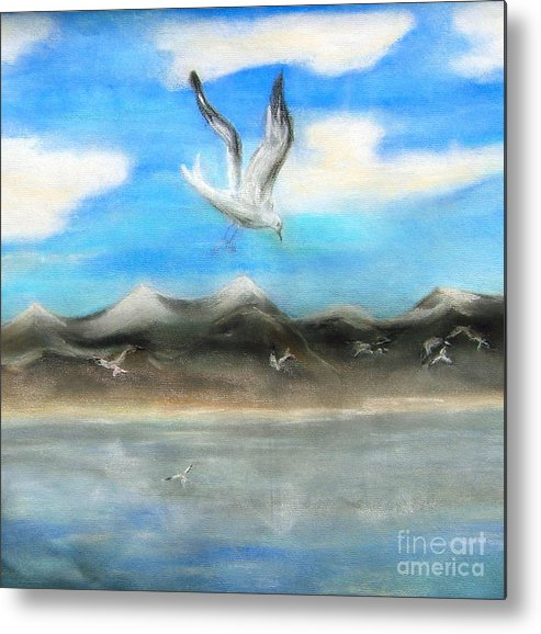 Birds Metal Print featuring the painting Sea Gulls by Nancy Rucker
