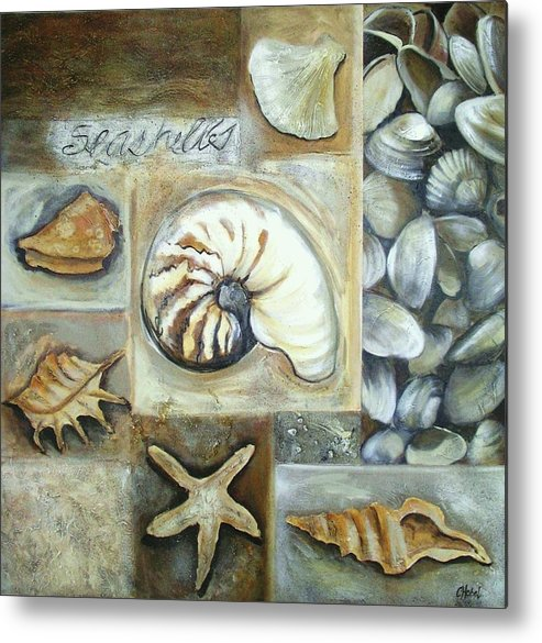 Collage Metal Print featuring the painting Seashells by Chris Hobel