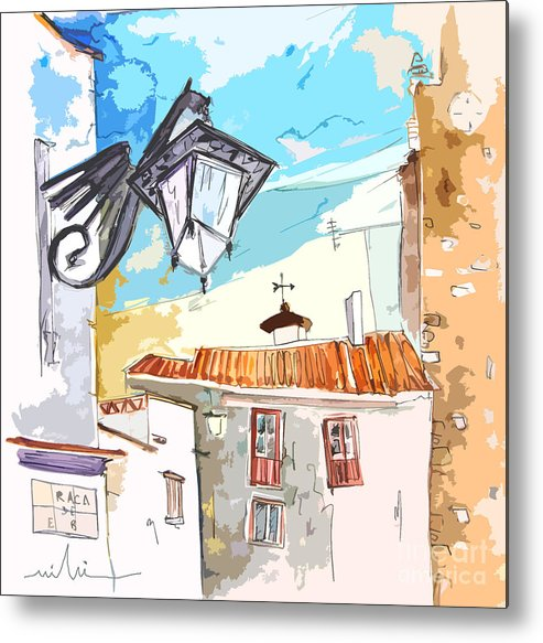 Painting Of Serpa Alentajo Portugal Travel Sketch Metal Print featuring the painting Serpa Portugal 09 Bis by Miki De Goodaboom