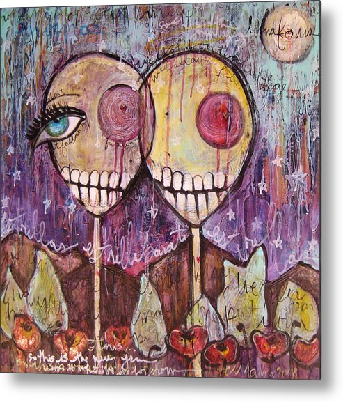 Skulls Metal Print featuring the painting So This Is The New Year Estrellas And All by Laurie Maves ART