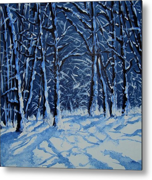 Landscape Metal Print featuring the painting Somich Snow by Veronique Radelet