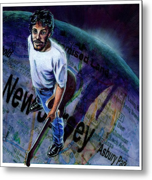 Musicians Metal Print featuring the painting Springsteen Spans The Globe by Ken Meyer