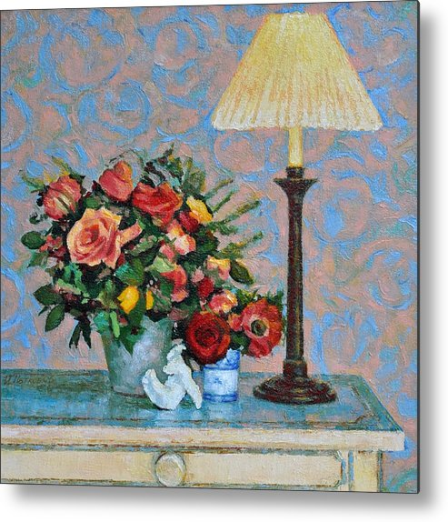 Flowers Metal Print featuring the painting Still Life With A Lamp by Iliyan Bozhanov