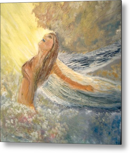 She Reaches The Top Throws Back Her Wings And Sings Metal Print featuring the painting Storm Song by J Bauer