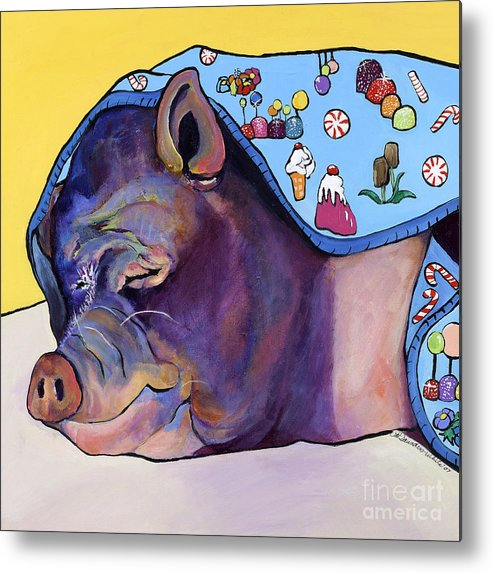 Farm Animal Metal Print featuring the painting Sweet Dreams by Pat Saunders-White