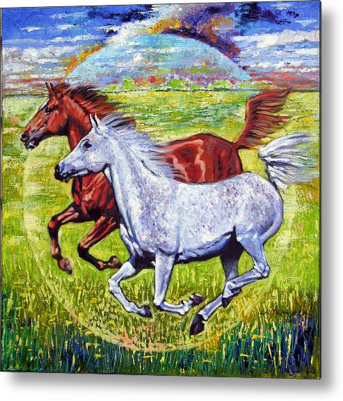 Horses Running Metal Print featuring the painting Sweet Harmony by John Lautermilch