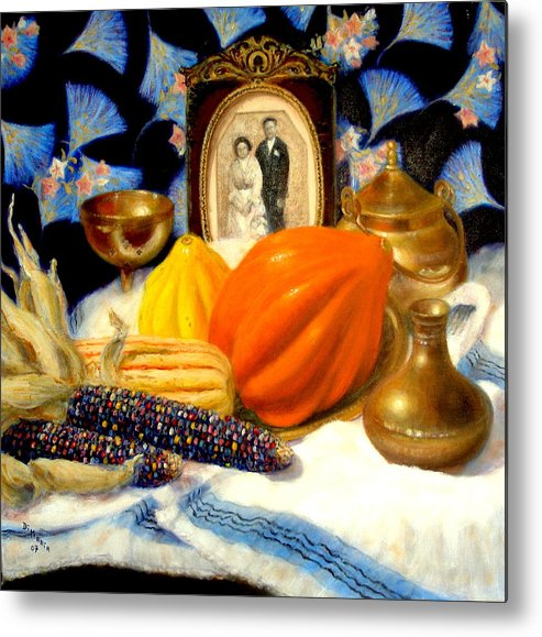 Realism Metal Print featuring the painting Thanksgiving Of The Past by Donelli DiMaria